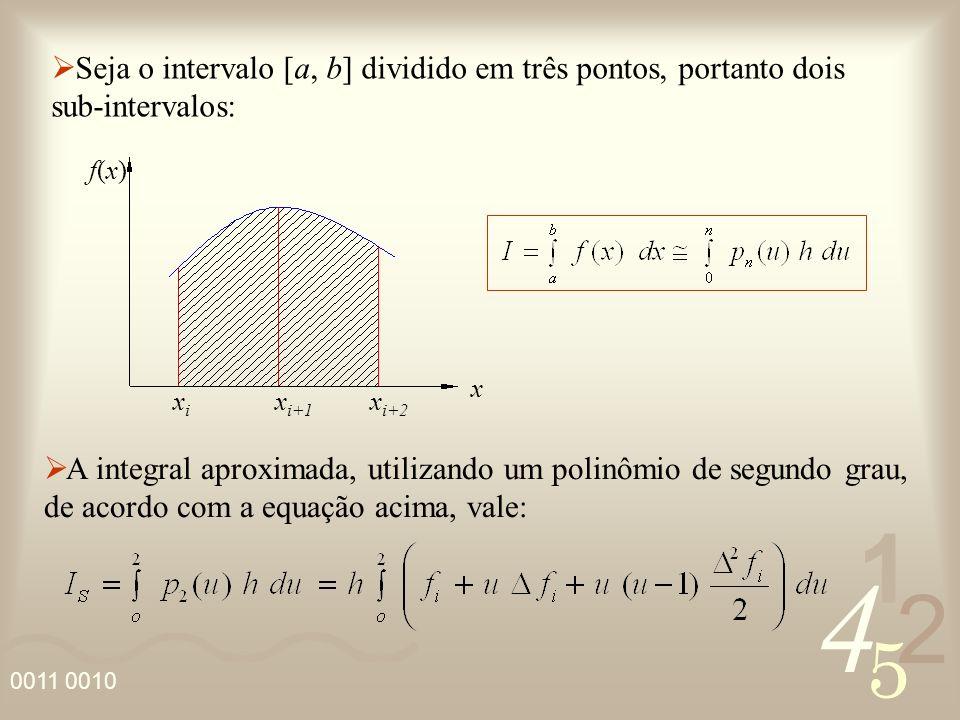 Seja o intervalo [a, b] dividido em três pontos, portanto dois